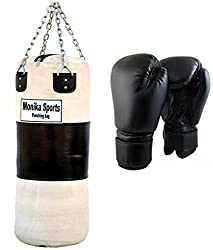 monika sports boxing kit white 36 (black boxing gloves and punching bag with chain)
