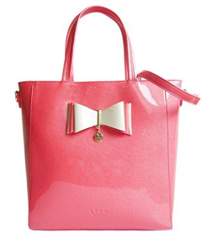 Girly HandBags Schöne Übergroßen Lack Leder Schulter Beutel Handtasche Bogen Glänzend Elegante Büro Frauen Designer Picture
