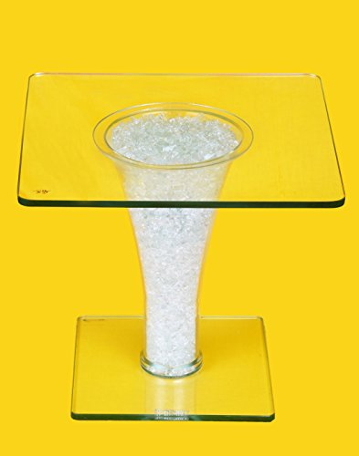 D`BORO 100% Glass Center Table 2 ft x 2 ft Square Upward Flared Pattern 12 mm Toughened Glass