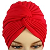 Rosy Red Bunch Pleated Turban Hat Head Cover Sun Cap