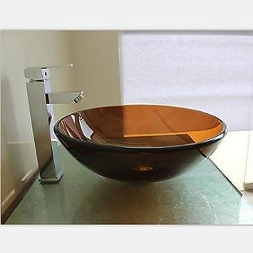 autique runde geh rtetes waschbecken aus glas mit wasserhahn einbauring und wasser drainvtn 11. Black Bedroom Furniture Sets. Home Design Ideas