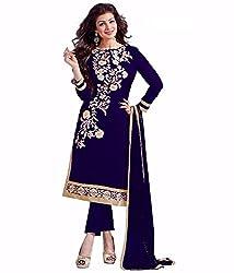 Shubh Women's Net Semi Stitched Dress Material (Shubh_176_Blue_Free Size)