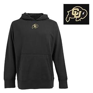 Colorado Buffaloes Hooded Sweatshirt - NCAA Antigua Mens Signature Hoodie Black... by Antigua