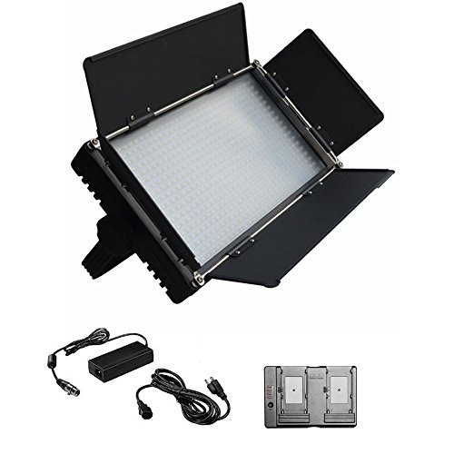 Iled 576As Bi-Color Dimmable Led Video Light Panel With Lcd Touch Screen And V-Mount Plate + Battery Converter Adapter + Softbox