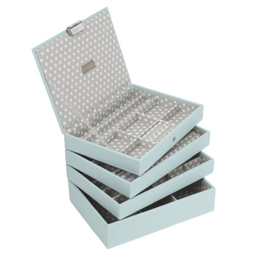 Stackers Jewellery Box | Classic Duck Egg Blue & Gray Polka Dot Stacker Set Of 4