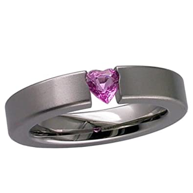 Titanium Wedding Rings - Pink Heart Sapphire Solitaire