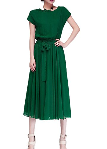 Originc Women'S Plus Size Chiffon Dress (Xl, Green)