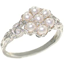 buy Luxurious Solid Sterling Silver Cultured Pearl Womens Cluster Ring - Size 10.5 - Finger Sizes 4 To 12 Available