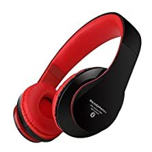 buy Bluetooth Headphones, Sprank Wireless Over-Ear Stereo Headphones Noise Cancelling Headset Handsfree Kids Headphones With Microphone Usb Rechargeable Fm Radio Tf Card Player (Black&Red)