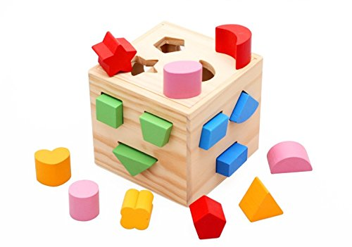 Agile Baby Toys Color Recognition Intelligence Toys Bricks/Toys Brocks,Wooden Shape Sorter Cube,Early Childhood Education for 1-3 Years Old - 1