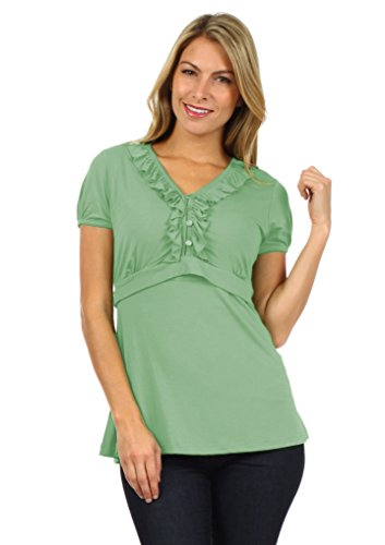 Tess Empire Line Chic Maternity And Nursing Top (Large, Grayed Jade)