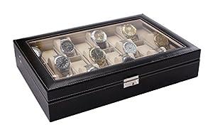 Piel sintética relojes con cristal en la rejillas caja 24 marca Unitedcreative