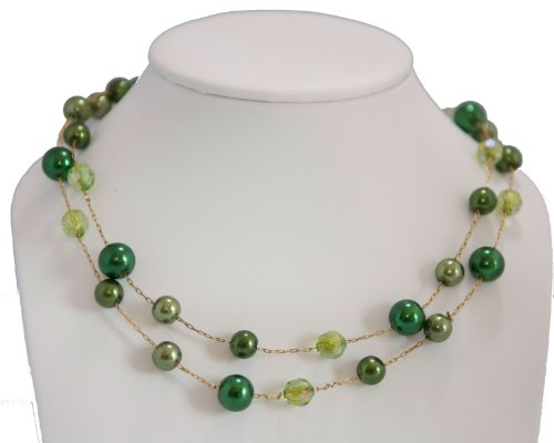 Double Row Light Green & Dark Green Pearls & Crystal Bead - Green Jewelry