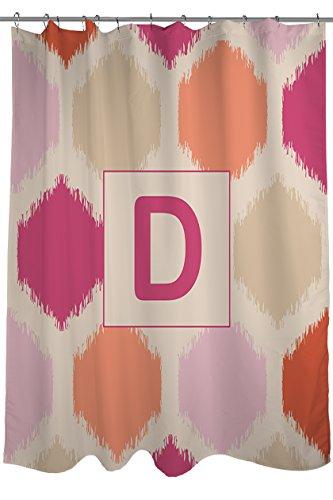 Thumbprintz Shower Curtain, Monogrammed Letter D, Pink Batik front-467350