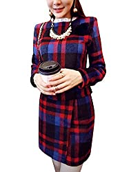 Women Winter Check Pattern Worsted Tops w Overlay Worsted Skirts Sets
