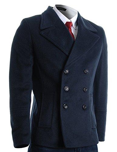 FLATSEVEN -  Cappotto  - Giacca caban - Maniche lunghe  - Uomo blu X-Large