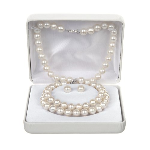 8-9.5MM Freshwater Pearl 3 Piece Box Set - Ear, Bracelet, Necklace