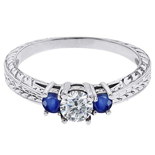 0.56 Ct Round G/H Diamond Blue Sapphire 14K White Gold 3-Stone Ring