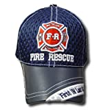 FIRE RESCUE FIRST IN LAST OUT BLUE LEATHER MESH HAT CAP