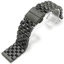 22mm SUPER Engineer Type II Solid Stainless Steel Watch Band Deployment Clasp PVD Black