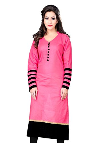 TARUMARU Women's Cotton Silk And Simple Printed Work Pink And Black Color Heavy Kurtis (Pink kurti)