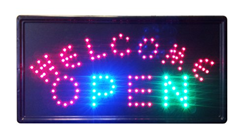 "10""X19"" Animated Led Neon Light Open 06 Sign, 2 On/Off Switches + Chain"