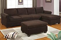 Hot Sale Livorno Sectional couch Set Chocolate Corduroy Finish with free ottoman (Sofa & Chaise)