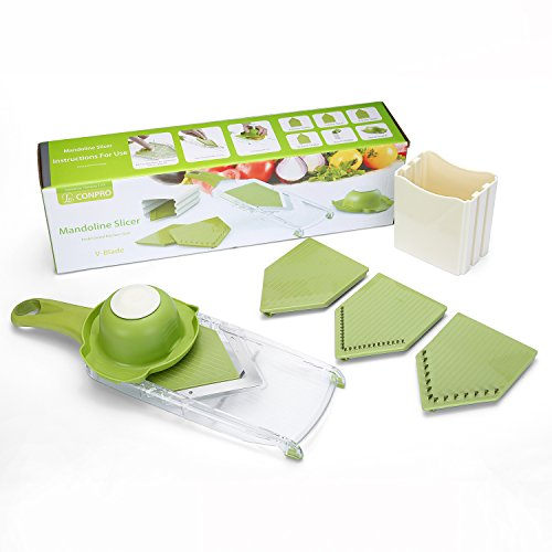 Mandoline Slicer - CONPRO Professional Food V-Blade Slicer Set - Handheld Adjustable French Fry Cutter - Vegetable Julienne Chopper - Potato Chip Slicer - Stainless Steel Grater - 4 Blades