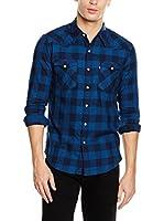 Levi's Camisa Hombre Barstow Western (Azul Oscuro / Azul)