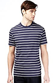 Pure Cotton Striped T-Shirt with Stay New&#8482;