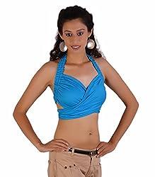 Jaipur Kala Kendra Women's Rayon Beachwear Halter Tank Top Casual Wear Top Medium Sky Blue
