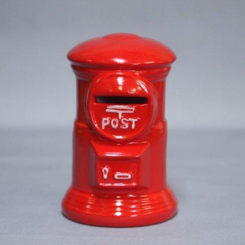 昭和レトロ 懐かしの郵便ポスト型貯金箱 赤ポスト ミニサイズ 陶器製
