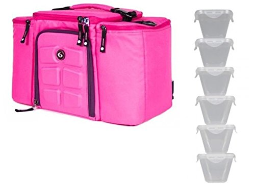 6 Pack Innovator 300 Pink Fitness Meal Management Bag+6 Sureseal Xl Containers