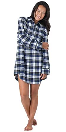 Tartan Plaid Brushed Cotton Flannel Nightgown for Women, Extra Small (2-4)