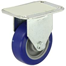 "E.R. Wagner Plate Caster, Rigid, Polyurethane on Polyolefin Wheel, Plain Bearing, 125 lbs Capacity, 3"" Wheel Dia, 1"" Wheel Width, 3-13/16"" Mount Height"