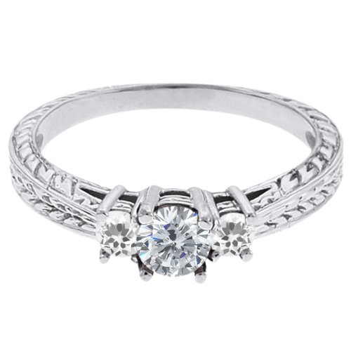 0.58 Ct Round G/H Diamond White Topaz 18K White Gold 3-Stone Ring