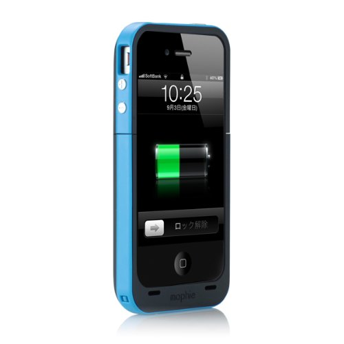 日本正規代理店品mophie juice pack plus for iPhone 4S/4 シアン MOP-PH-000011