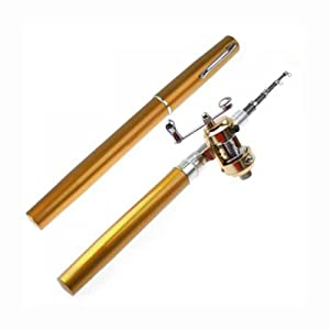 Mini Pocket Aluminum Alloy Fish Pen Fishing Rod Pole with Baitcasting Reel--Ideal Fishing Set for Fishing Enthusiast or Collectors Golden from Colormaxcoltd