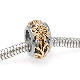 Beadaholique Floral Cut Out Large Hole Bead, Fits Pandora, Gold Plated Silver Tone