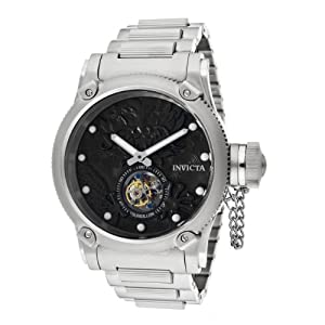 Invicta Men's 11142 Russian Diver Mechanical Tourbillion Black Patterned Dial Stainless Steel Watch