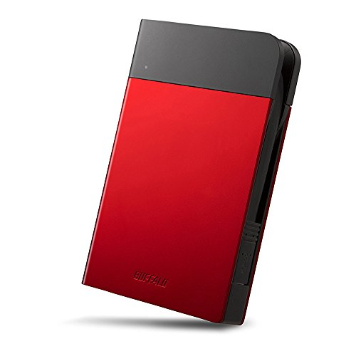 BUFFALO ICカードロック解除対応MILスペック耐衝撃ボディー防滴・防塵ポータブルHDD 1TB レッド HD-PZN1.0U3-R
