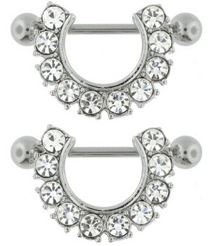 CZ - GEM STUDDED HORSESHOE Shield Nipple Ring