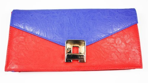 On Sale - Ex High Street, Red and Blue Faux Leather CLUTCH / HAND BAG with Swivel Clasp Fastener
