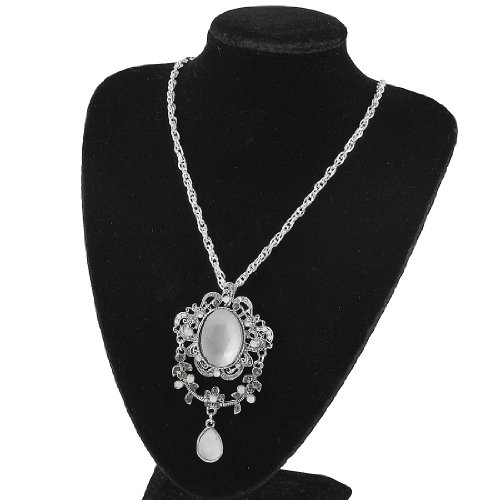 Rosallini Faceted Crystal Inlaid Flower Pendant Silver Tone Chain Necklace