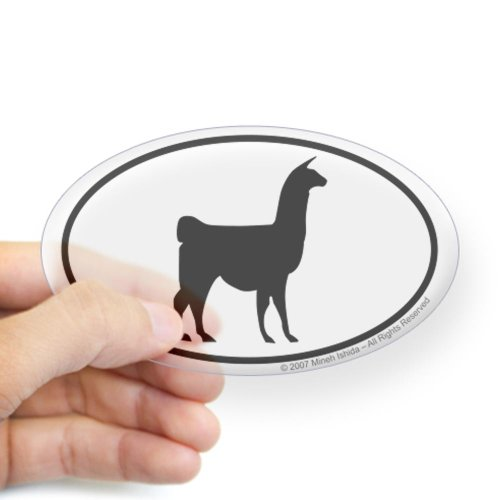 CafePress - Llama Euro Oval Sticker - Oval Bumper Sticker, Euro Oval Car Decal