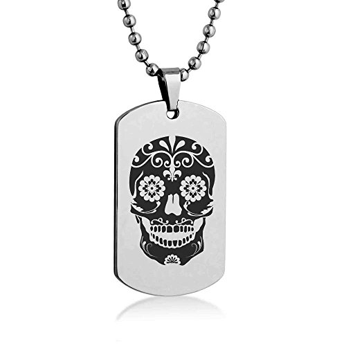 """Sugar Skull Engrave Dog tag Necklace Pendant 24"""" inch Stainless Steel Ball Chain with Giftpouch and Keyring"""