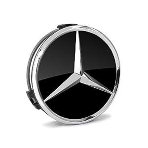 Mercedes benz chrome star on black wheel for Mercedes benz center cap