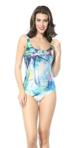 Ndb Cartoon Girl Print One Piece Swimsuit Swimwear Beach Cloth
