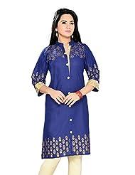 ALC Creations Blue Golden Print Kurti, Long, Casual, Formal, Women's Kurti