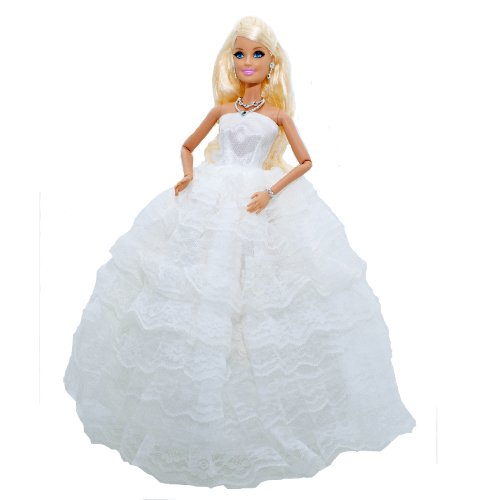 Barbie Doll Clothes: Gorgeous White Ruffled Strapless Evening Gown or Wedding Dress w/ Veil and White Gloves Plus Our Exclusive Lilly and the Bee Novelties